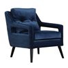 blue velvet upholstered open arms black tapered splayed legs