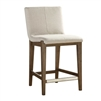 counter stool light walnut wood frame white sloping cushion silver metal kick plate