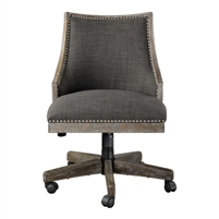 rolling adjustable height desk chair wood frame gray wash honey stain dark gray linen silver nailhead