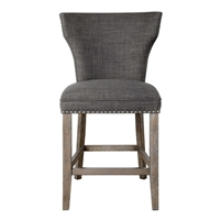 counter stool gray wash finished wood legs brass kick plate dark linen silver nailhead trim