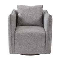 grey woven upholstered arm swivel chair loose pillow