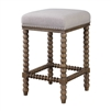 counter stool spindle turned legs walnut stain cushion seat ivory linen blend silver nail heads