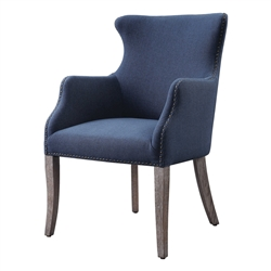 denim blue upholstered wing chair wood legs nailheads