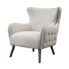 cream upholstered chair wingback tufted exterior gray outside nail heads