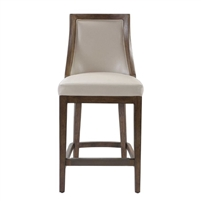 counter stool upholstered beige faux leather pebbled wood frame walnut finish bronze metal kick plate