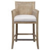 counter stool bleached hardwood sandstone cane back sides off-white cushion silver metal kick plate