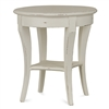 Bramble bradley white round side table mahogany shelf distressed
