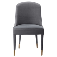 dining chair armless gray velvet contemporary brass ferrules concave back