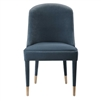 dining chair armless slate blue velvet contemporary brass ferrules concave back
