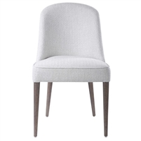dining chair armless textured off-white contemporary wood splayed legs concave back