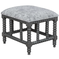 small bench gray white faux cowhide turned spindle base