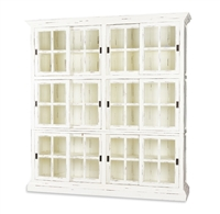 Bramble English harvest white finish two column bookcase distressed sliding doors window pane