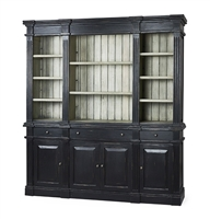 bookcase open shelves cabinets drawers distressed black wood light gray back