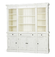 bookcase open shelves cabinets drawers distressed white