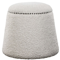 round faux shearling ottoman footrest gumdrop white