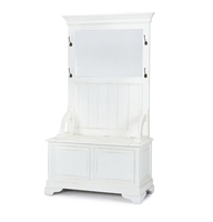 wood hall stand bench storage ivory traditional cottage-styled rustic mirror distressed Bramble