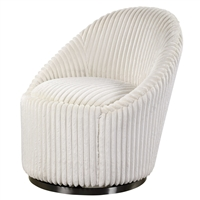 swivel chair barrel-shaped ivory fluted chenille upholstered