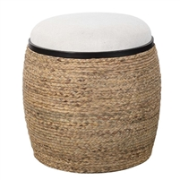 rope wrapped ottoman stool cream top natural