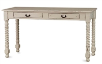 off white distressed console table w twist leg detail
