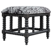 small bench charcoal gray white hide upholstered wood base