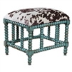small bench aqua mahogany white velvet