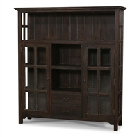 wood kitchen cupboard glass window pane doors cubbies cocoa