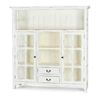 Bramble aries harvest white finish cupboard kitchen glass doors open shelving drawers wood white distressed farmhouse