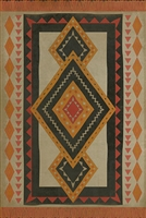 vinyl floor mat tribal pattern orange red