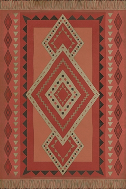vinyl floor mat tribal pattern red tan