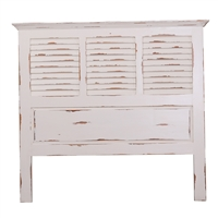 Bramble queen headboard shutter white distressed shabby chic coastal beachy cottage casual crown molding