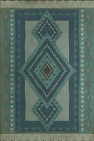 vinyl floor mat tribal pattern teal blue
