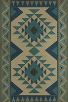 vinyl floor mat tribal pattern teal cream