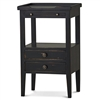 Bramble eton black pull out shelf two drawer side table mahogany distressed