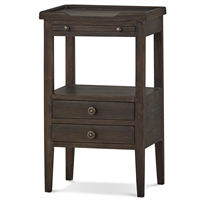 Bramble eton brown pull out shelf two drawer side table mahogany distressed rustic
