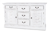 chest 5 drawers 2 cabinets interior shelves off-white shutter doors distressed black hardware