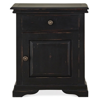 bedside table nightstand wood farmhouse country black cabinet casual bedroom furniture rustic Bramble