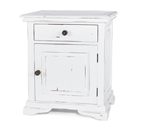 wood nightstand distressed white cabinet drawer