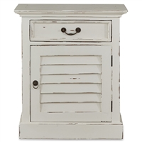 Bramble nightstand white distressed bedside table cabinet shutter drawer lakeside cottage casual bedroom