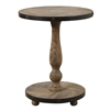 round rustic side accent drink table weathered wood pedestal base pie pattern top