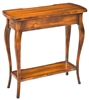 rectangle side table long narrow walnut finish wood lower shelf drawer traditional
