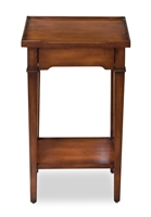small rectangle table walnut finish wood drawer lower shelf