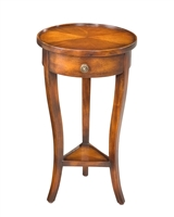 small round table walnut finish wood drawer lower shelf