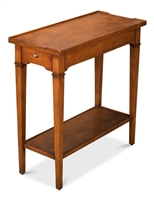 narrow long end accent side table wood brown traditional drawer shelf