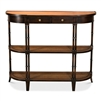 console table rounded front corners bamboo-like legs shelves caned drawer