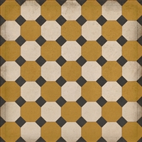 vinyl floor square mat octagons tan black cream