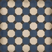 vinyl square floor mat octagons navy black cream