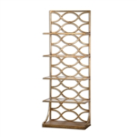 glass shelves gold leaf forged iron etagere