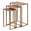 set 3 nesting tables transitional gold leaf iron base oxidized copper sheeting tops