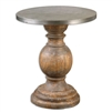 round accent end side table weathered fir wood aluminum table top