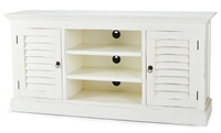 wood media cabinet white louvered doors storage entertainment farmhouse center traditional shabby chic furniture Bramble